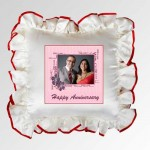 White Square Cushion With Personalized Photo and Red Lace Border